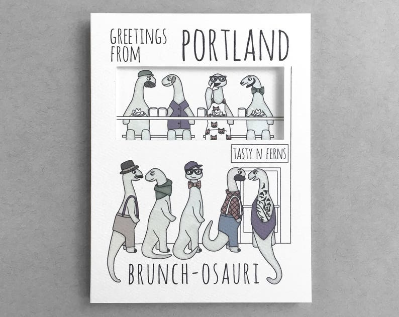 Portland Oregon Brunch line Pun card Hipster dinosaur Portland card