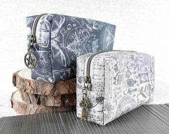 Medieval Tarot deck bag with zipper | Tarot card bag medieval medicine tarot bag for standard size deck protective tarot pouch