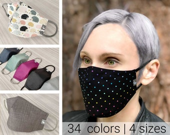 Cotton face mask with nose wire | 3d face mask with filter pocket rainbow mask 3d mask fitted face mask woman snailface