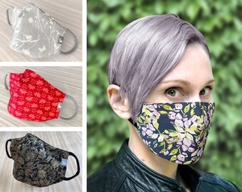 Floral face mask with nose wire  | 3d face mask for women summer mask fitted face mask flower print filter pocket reusable face mask