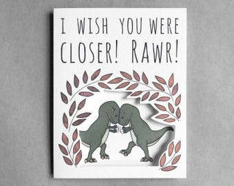 Miss you card | Long distance relationship card t-rex card miss you girlfriend long distance boyfriend miss you friend thinking of you card