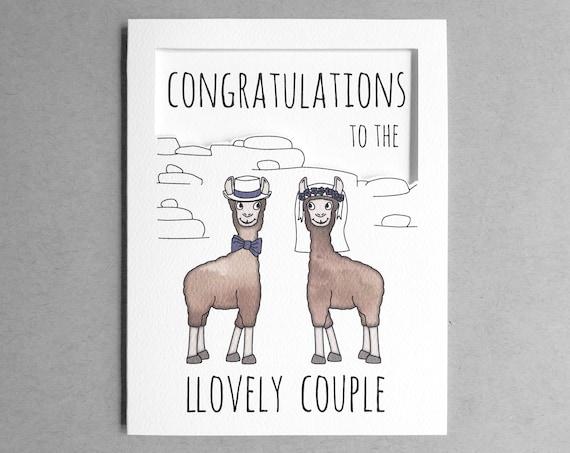 Huwelijk Gefeliciteerd Kaart Grappige Bruiloft Congrats Grappig Felicitaties Met Vriend Zuster Kaart Kaart Voor Broer Lama Woordspeling Kaart