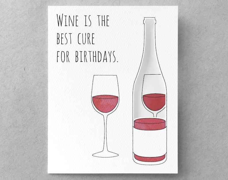 Funny Birthday Card Wine Sister