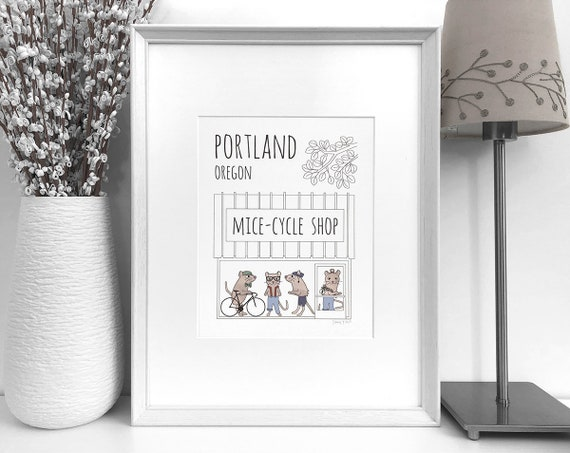 Portland art print Gift for friend Bike shop Portland | Etsy