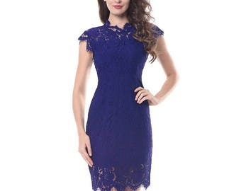 Elegant lace blue dress sizes available:12/14 14/16