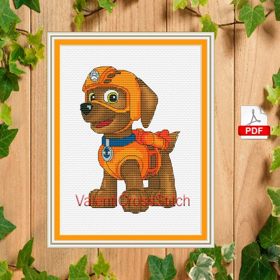 cartoon cross stitch pattern paw patrol zuma counted cross etsy