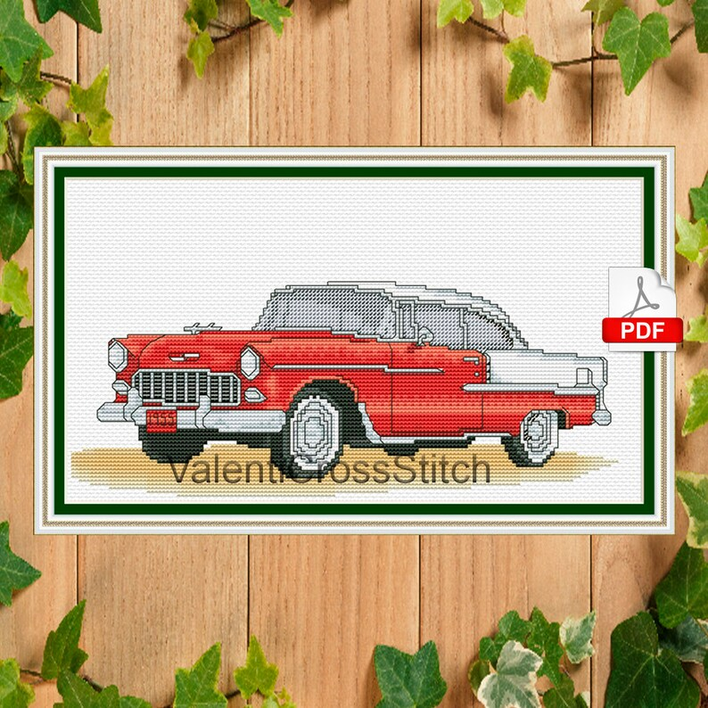 Chevrolet Cross Stitch Pattern, Car, Chevrolet 1955, Chevy, Chevrolet Bel  Air , Retro, Cross Stitch, Chart, #sp 176