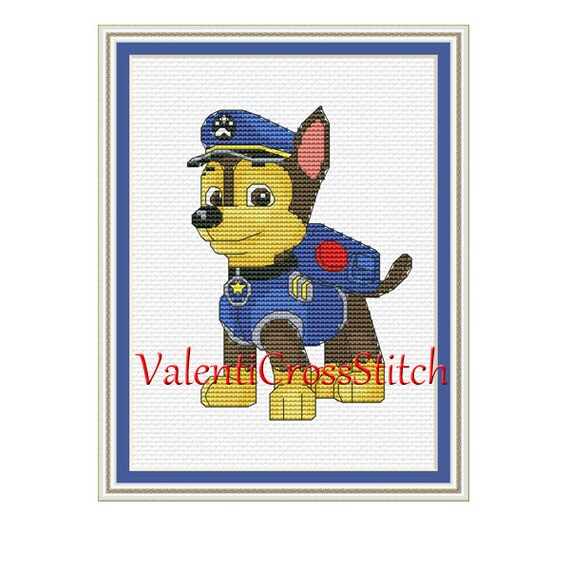 PAW Patrol Cross Stitch Pattern Chase counted cross stitch | Etsy