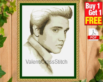 Elvis Presley Cross Stitch Pattern, Patterns, Cross Stitch, Elvis Aaron Presley,  Presley, TV, movie, #sp 168
