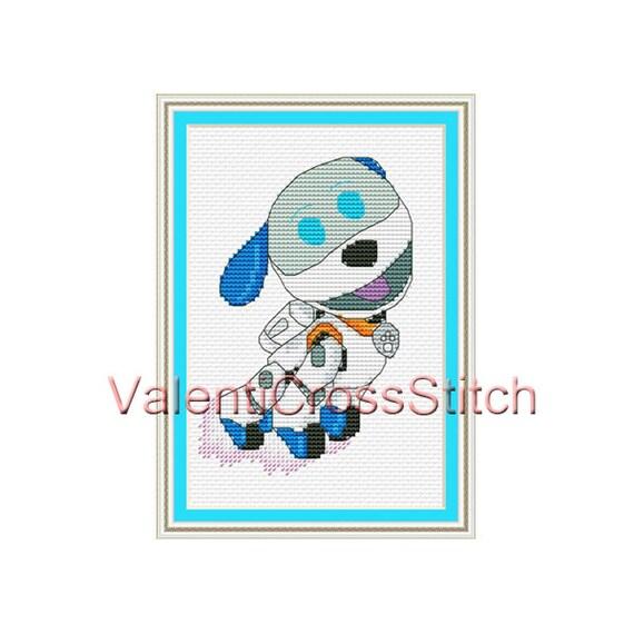 Cartoon Cross Stitch Pattern Robo Dog Robo Puppy for baby | Etsy
