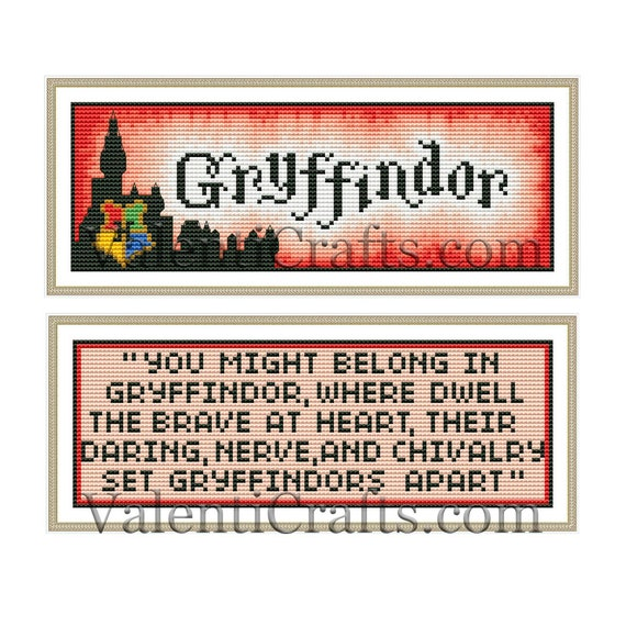 Handmade Gryffindor Harry Potter DIGITAL Counted Cross-Stitch Pattern Chart