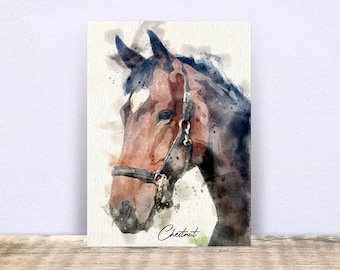 Custom Watercolour Portrait, Horse Gifts, Horse Print, Horse Canvas Art, Horse Memorial Gift, Horse Remembrance Sympathy, Horse Lover Gift