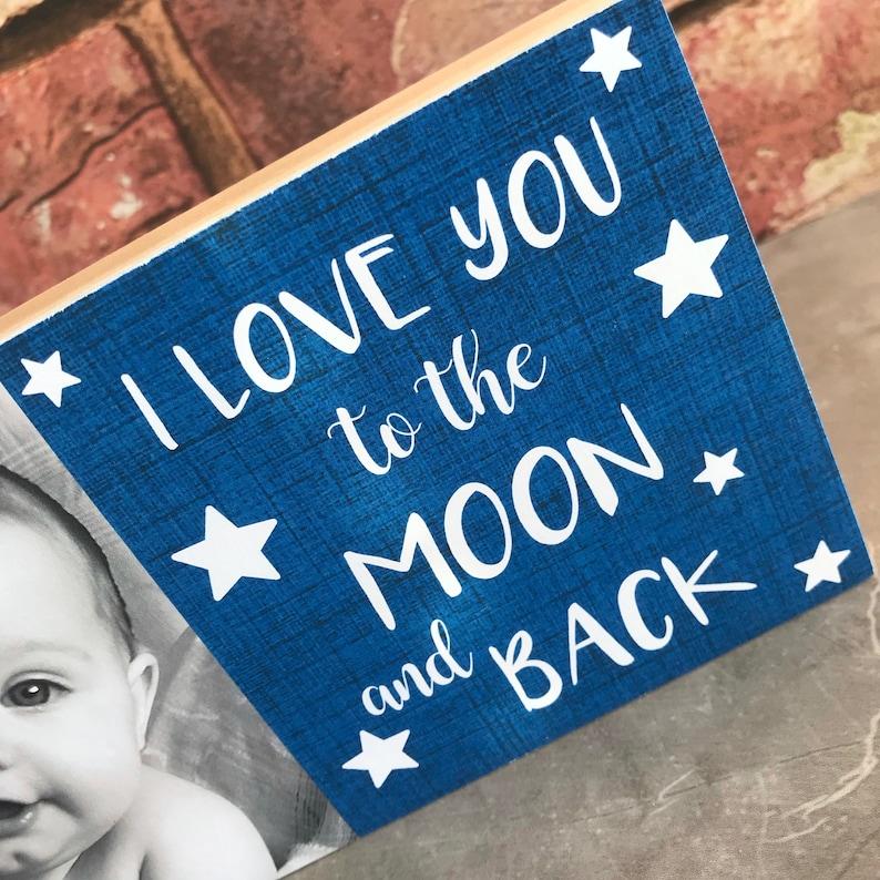 Gift for Mummy /& Daddy Personalised with your own photo I love you to the moon and back photo block Bespoke Keepsake Custom Photo Gift