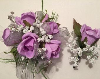Prom Corsage, Lavender and Silver Silk Prom Wrist Corsage, Purple Wrist Corsage