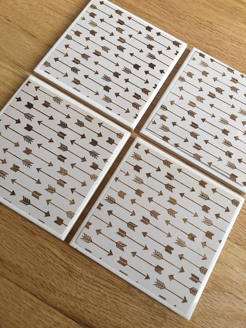 hostess gift teacher gift Arrow decor ceramic coasters Brown arrows  tile coasters beach house decor housewarming gift