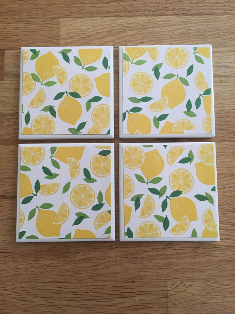 anniversary gifts engagement gift new home gift bar gifts teacher gift secretary gifts Lemon ceramic coasters tile coasters