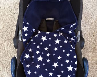 Universal Baby Car Seat Blanket Hooded Navy Blue Fleece With Stars Wrap