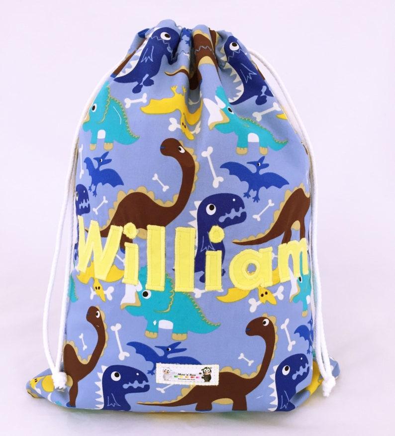 PE Bag School Personalised Grey Kids Dinosaur Red Drawstring Swimming
