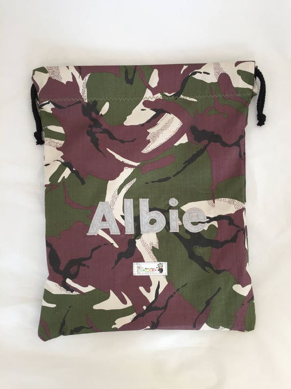 Personalised Football Camo PE Kit School Boys Gym Kids Backpack Drawstring Bag