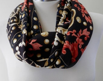 New Black & Gold Abstract Print Infinity Scarf/Women Shawl/Boho Scarf/Loop Scarf/Circle Scarf/Neck Rag/Knit Scarf/Cowl Neck/Warm Scarf