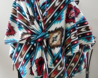 Southwestern Print Turquoise & Red Multicolor Ruana Wrap/Boho Kimono/Poncho/Shawl/Women Cape/Lightweight Jacket/Plus Size/Stole/Cover Up