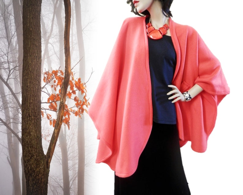 New Tangerine Color Ruana Wrap/Poncho/Women image 0
