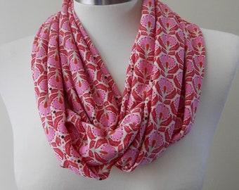 New Pink, Red & White Print Infinity Scarf/Women Shawl/Boho Scarf/Loop Scarf/Circle Scarf/Neck Rag/Knit Scarf/Cowl Neck/Warm Scarf