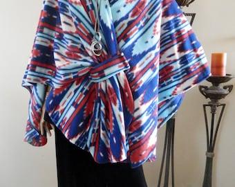New Red and Blue Tie Dye Ruana Wrap/Boho Kimono/Women Poncho/Women Cape/Lightweight Jacket/Plus Size Cloak/Women Stole/Women Wrap/CoverUp