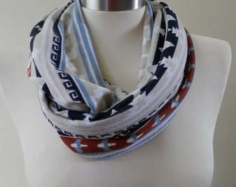Brown,Blue & Off White Abstract Print Infinity Scarf/Women Shawl/Boho Scarf/Loop Scarf/Circle Scarf/Neck Rag/Knit Scarf/Cowl Neck/Warm Scarf