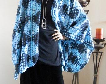 Blue & Black Abstract Print Ruana Wrap/Boho Kimono/Poncho Shawl/Women Cape/Lightweight Jacket/Plus Size Cape Shawl/Stole/Ruana/Cover Up/Wrap