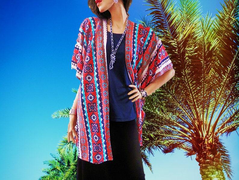 New Orange & Turquoise Tribal Print Kimono Cardigan/Boho image 0