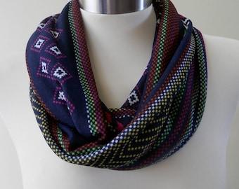 New Navy Blue and Red Print Infinity Scarf/Women Shawl/Boho Scarf/Loop Scarf/Circle Scarf/Neck Rag/Knit Scarf/Cowl Neck/Warm Scarf