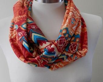 New Orange, Yellow, Green Aztec Print Infinity Scarf/Women Shawl/Boho Scarf/Loop Scarf/Circle Scarf/Neck Rag/Knit Scarf/Cowl Neck/Warm Scarf