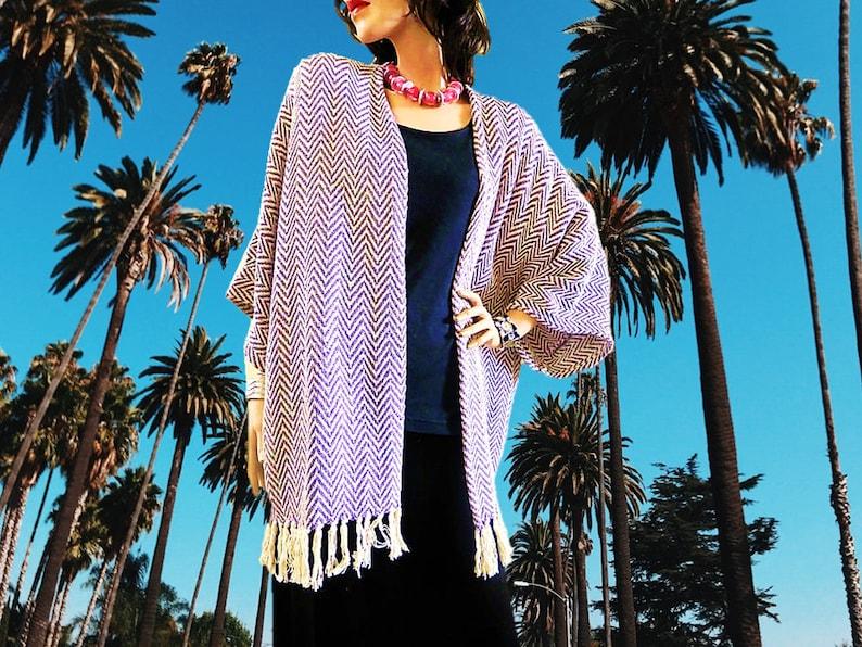 Purple Chevron Kimono Cardigan/Cover Up Kimono/Boho image 0