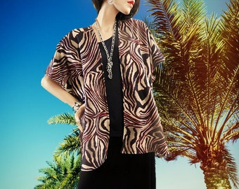 Black & Burgundy Zebra Print Kimono Cardigan/Cover Up/Boho/Lightweight Jacket/Poncho/Women Kimono/Cocoon Cardigan/Plus Size Kimono/Ruana