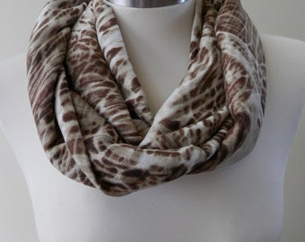 New Brown & Off White Abstract Print Infinity Scarf/Women Shawl/Boho Scarf/Loop Scarf/Circle Scarf/Neck Rag/Knit Scarf/Cowl Neck/Warm Scarf