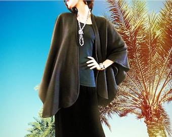 New Black Ruana Wrap with Closure Front/Women Poncho/Lightweight Jacket/Women Cape/Oversized Ruana Wrap/Plus Size Wrap/Boho Kimono/Cover Up