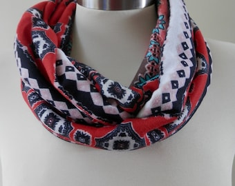 New Multicolor Abstract Print Infinity Scarf/Women Shawl/Boho Scarf/Loop Scarf/Circle Scarf/Neck Rag/Knit Scarf/Cowl Neck/Warm Scarf