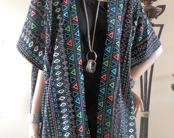 Black & Blue Abstract Print Kimono Cardigan/Cover Up/Boho/Lightweight Jacket/Poncho/Women Kimono/Cocoon Cardigan/Plus Size Kimono/Ruana