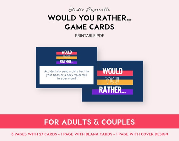photo relating to Would You Rather Cards Printable named Solutions very similar toward Would oneself instead // Printable Grownup Activity