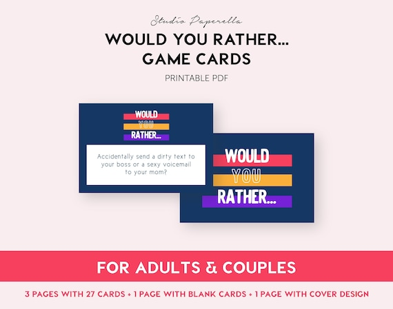 photograph about Would You Rather Cards Printable named Goods identical in the direction of Would yourself instead // Printable Grownup Video game