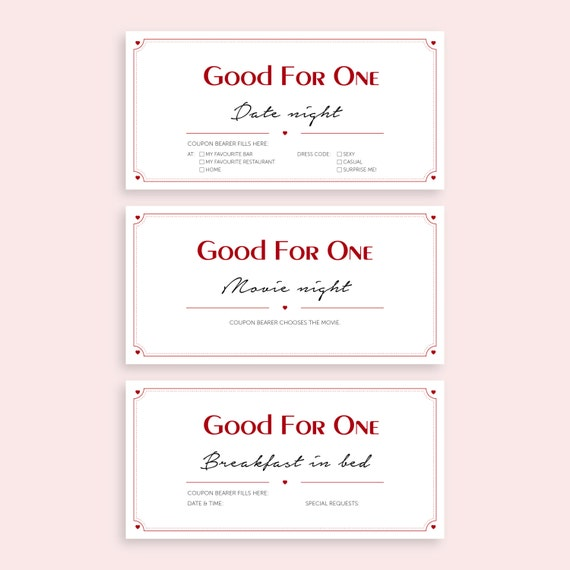 items similar to printable love coupons for boyfriend