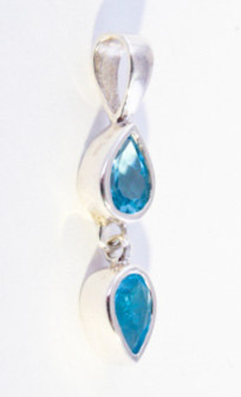 Handcrafted Sterling Silver Topaz Dangle Pendant