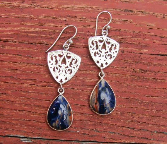 Sodalite Silver Minimalist Dangle Earrings - Tradi