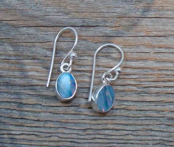 Opal Silver Dangle Earrings - Vintage Dangle Earri