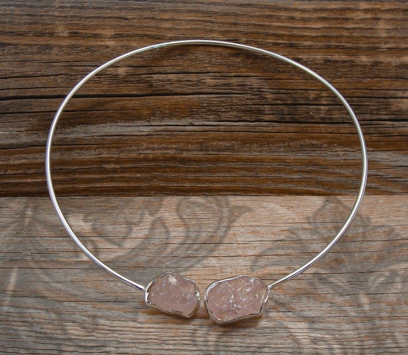 Vintage Silver Choker Collar Bohemian Raw Rose Quartz Silver Choker Collar