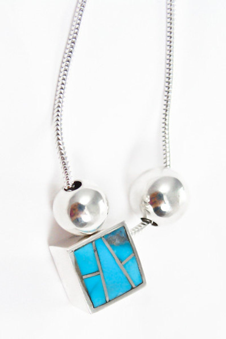 Navajo Silver Turquoise Inlay Pendant