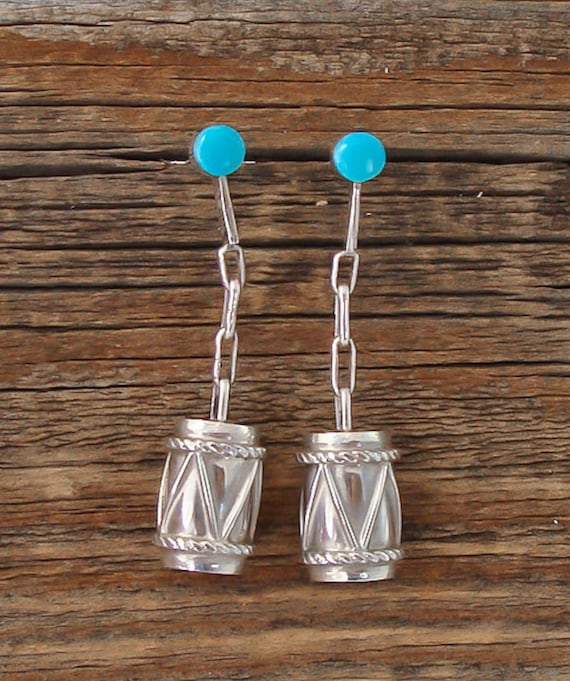 Zuni Turquoise Silver 3D Drum Dangle Earrings / Si