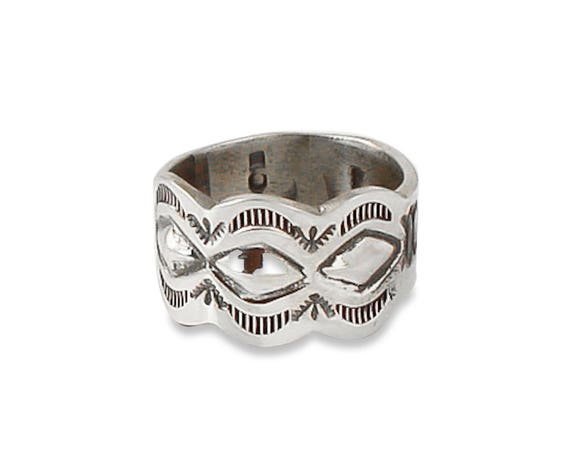 Geometric Accent Size 7.5 Sterling Silver Ring Band The Musineon Ring  Brushed Wide Band Ring Wide Band Ring Brushed Silver