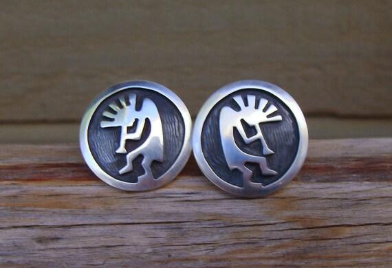 Native American Hopi Silver Kokopelli Post Earring